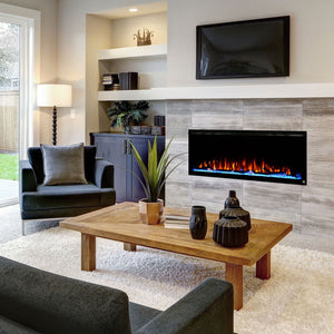 "Living Room Design with Touchstone Sideline Elite 42"" Recessed Electric Fireplace, Wall mount , Built in electric fireplace."