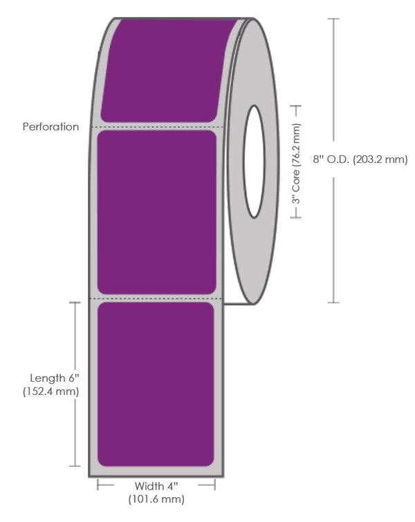 "4"" x 6"" Purple Top Coated Direct Thermal Label - 1000 Labels (4-Pack)"