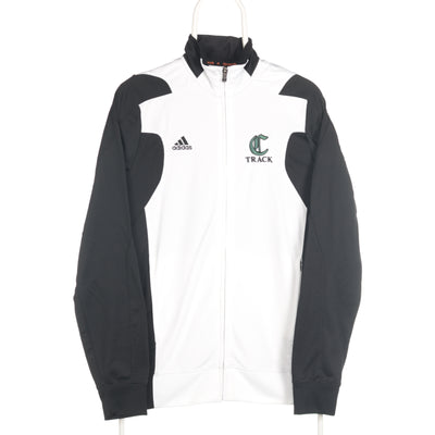 White Adidas Zip Up College Track Jacket - Small
