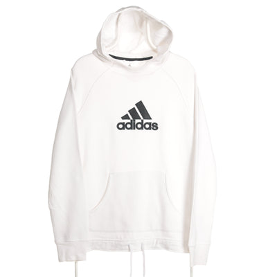 White Adidas Spellout Hoodie - Xlarge