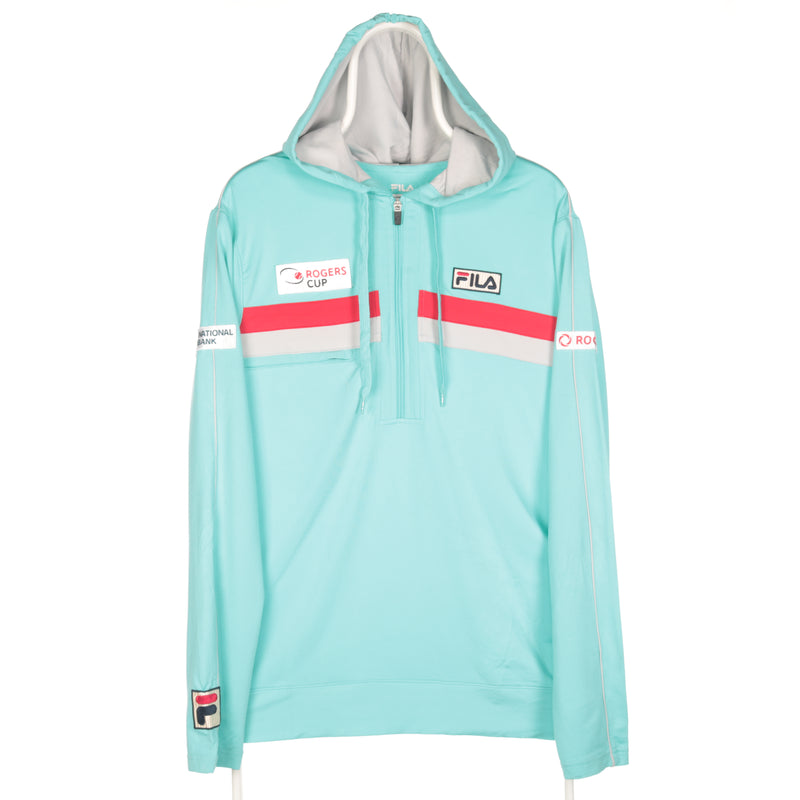 Fila - Teal Blue Patched Quarter Zip Sports Sweatshirt - Large