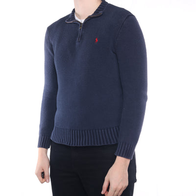 Ralph Lauren - Navy Embroidered Quarter Zip Jumper - Small