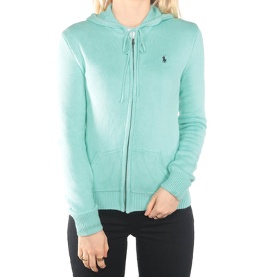 Ralph Lauren - Turquoise Zip Up Embroidered Hoodie - Small