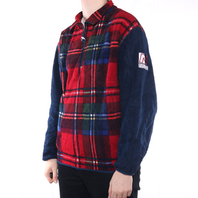 Nautica - Blue and Tartan Quarter Zip Fleece - Large