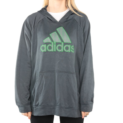 Adidas - Blue Embroidered Hoodie - XXLarge