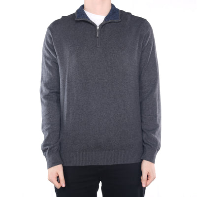 Nautica - Grey Embroidered Quarter Zip Jumper - XLarge