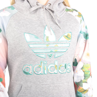 Adidas - Grey Embroidered Hoodie - Small
