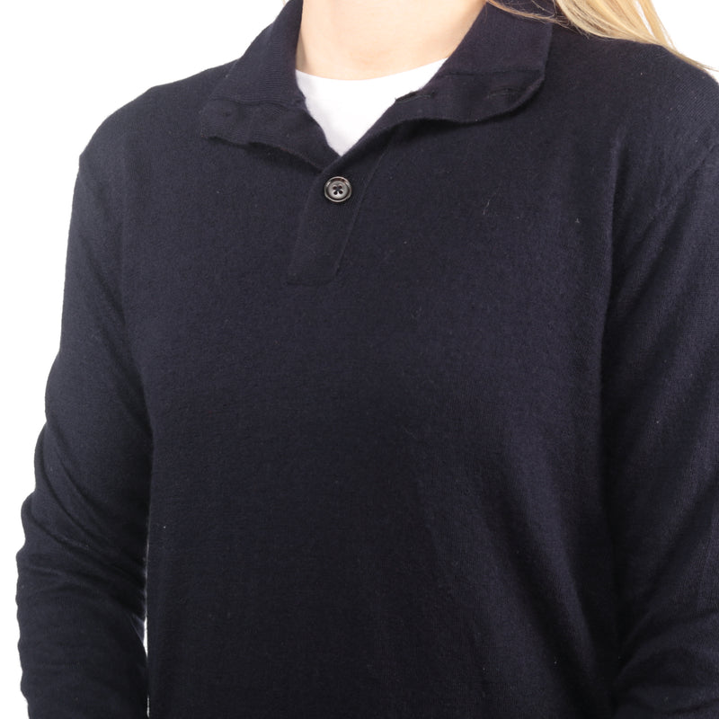 Ralph Lauren - Navy Woollen Embroidered Polo Shirt- Large