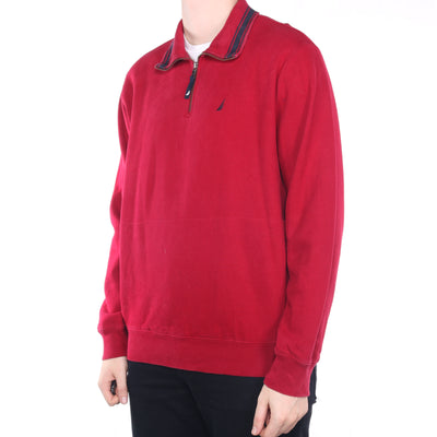 Nautica - Red Embroidered Quarter Zip Sweatshirt - XLarge