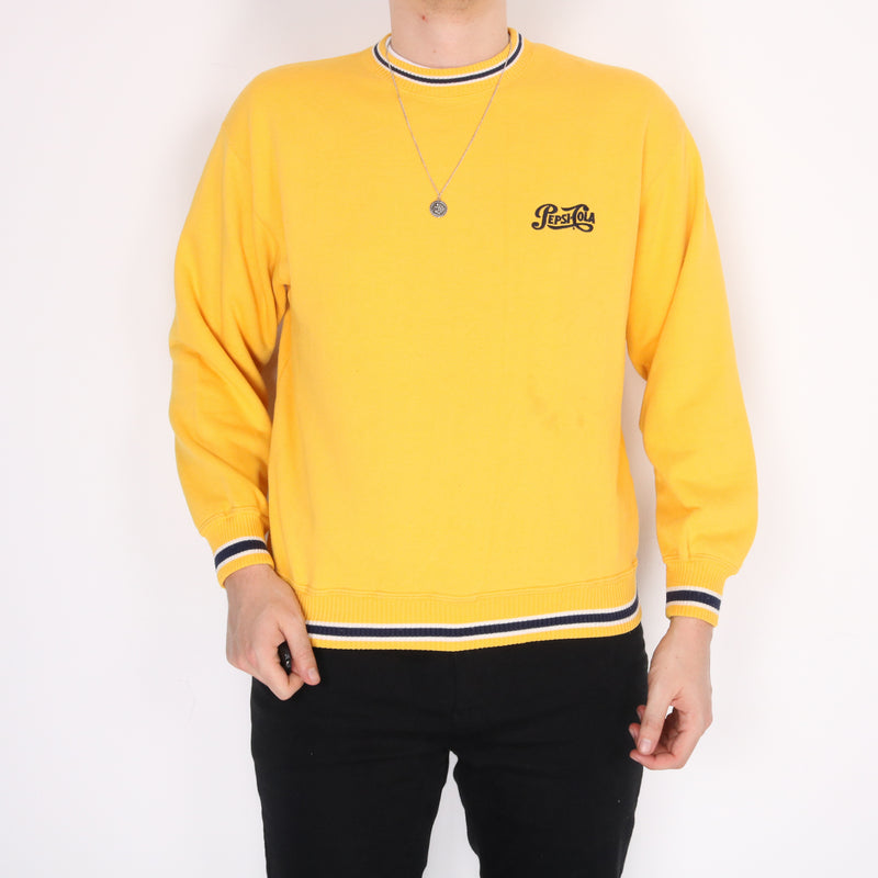 Pepsi - Yellow Embroidered Crewneck Sweatshirt - Medium
