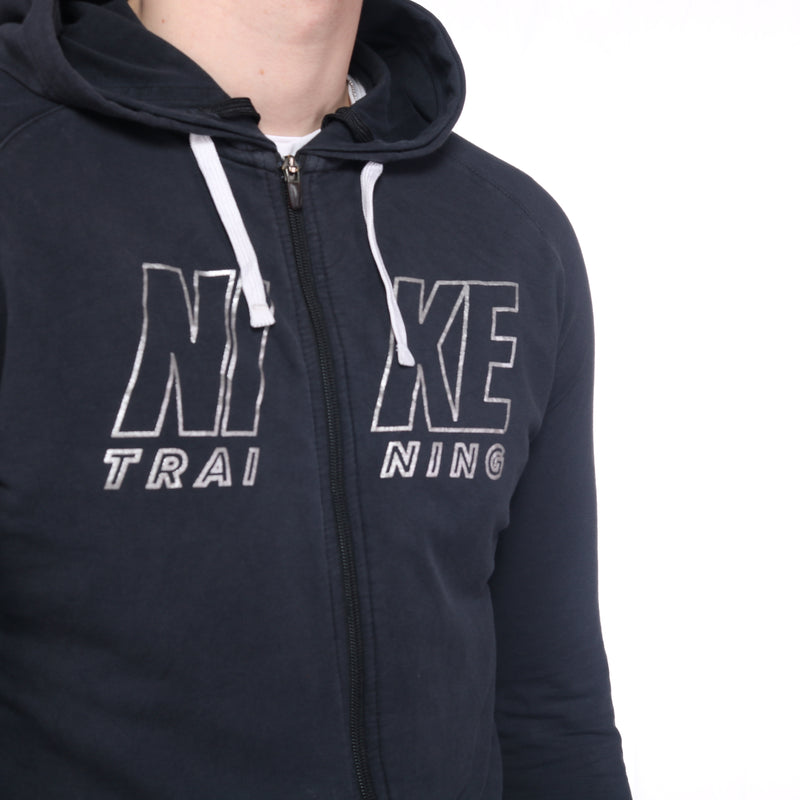 Nike  - Black Printed Zip Up Hoodie- XLarge