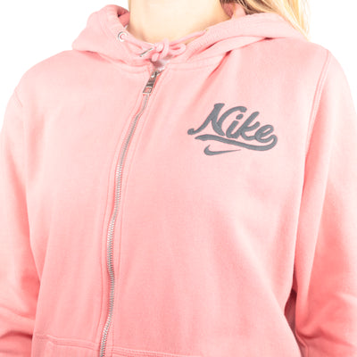 Nike - Pink Embroidered Zip Up Hoodie - XLarge