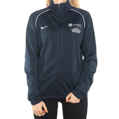 Nike - Navy Embroidered Zip Up Jumper - XLarge