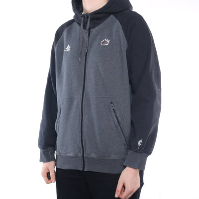 Adidas - Grey and Black NBA Zipped Hoodie - XLarge