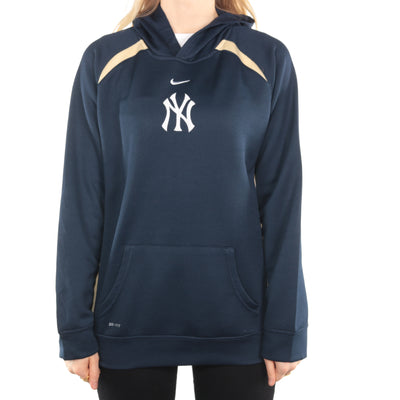 Nike - Navy Embroidered Central Swoosh Yankees MLB Hoodie - Large