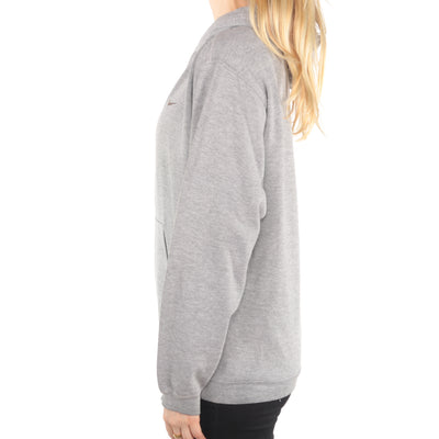 Nike - Grey Embroidered Swoosh Hoodie - Large