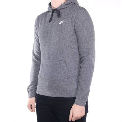 Nike - Grey Embroidered Single Swoosh Hoodie - Small