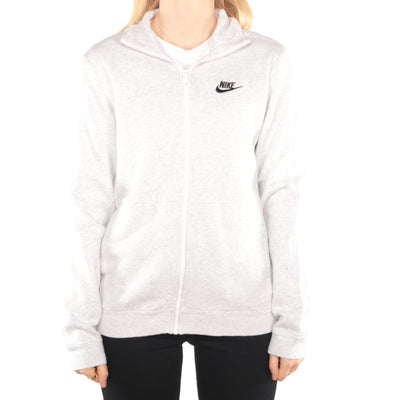 Nike - Grey Embroidered Zipped Sweatshirt - Small