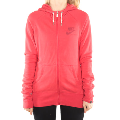 Nike - Red Embroidered Zipped Hoodie - Large