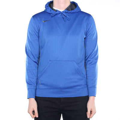 Nike - Blue Embroidered Single Swoosh Hoodie - Small
