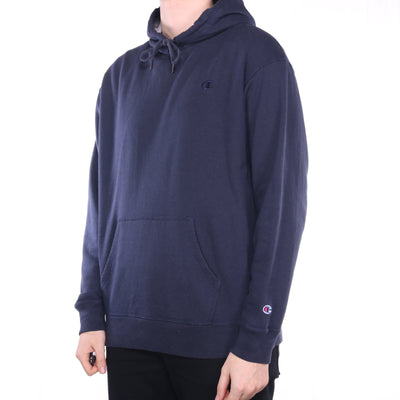 Champion - Navy Embroidered Single Stitch Hoodie - XLarge