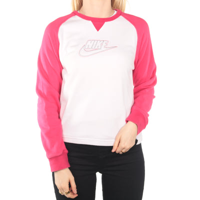 Nike - White Embroidered Spellout Sweatshirt - Large