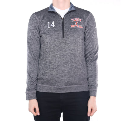 Adidas - Grey Embroidered College Quarter Zip Sweatshirt - Small