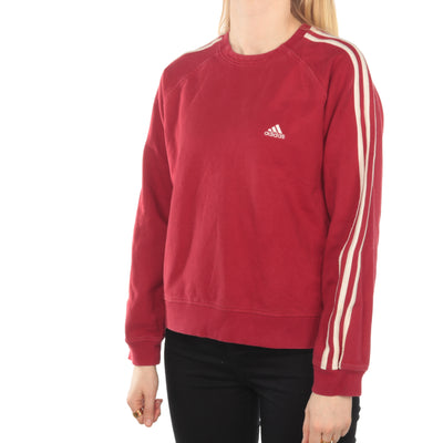 Adidas - Red Embroidered Crewneck Sweatshirt - Medium