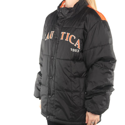 Nautica - Black Embroidered Spellout Puffer Jacket - XLarge