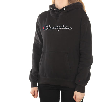 Champion - Black Fleece Patched Spellout Hoodie - XSmall