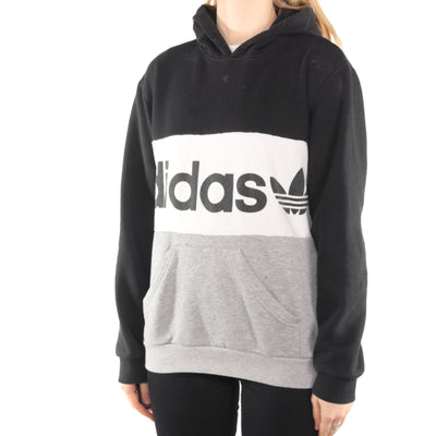 Adidas - Black and Grey Spellout Hoodie - Small