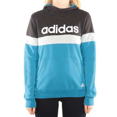 Adidas - Black and Blue Spellout Hoodie - Large