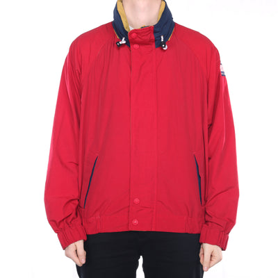 Tommy Hilfiger - Red Embroidered Windbreaker with Hoodie - XLarge