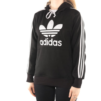 Adidas - Black Embroidered Hoodie - Small