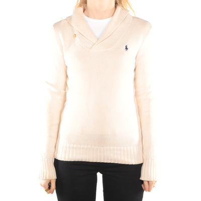 Ralph Lauren - Beige Embroidered Quarter Button Jumper - Small