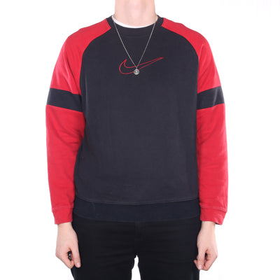 Nike - Black and Red Embroidered Swoosh Crewneck Sweatshirt - Medium