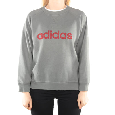 Adidas - Grey/Blue Embroidered Crewneck Sweatshirt - Medium