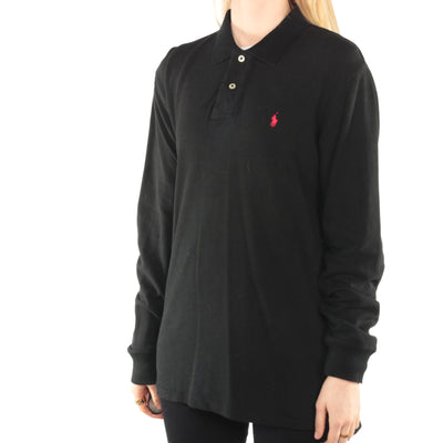Ralph Lauren - Black Embroidered Long Sleeve Polo Shirt - Large