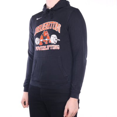 Nike - Black Embroidered College Hoodie - Small