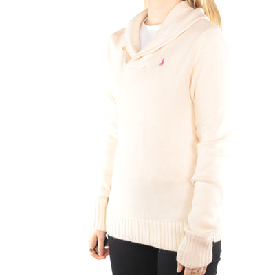 Ralph Lauren - Cream Embroidered Quarter Button Jumper - Large