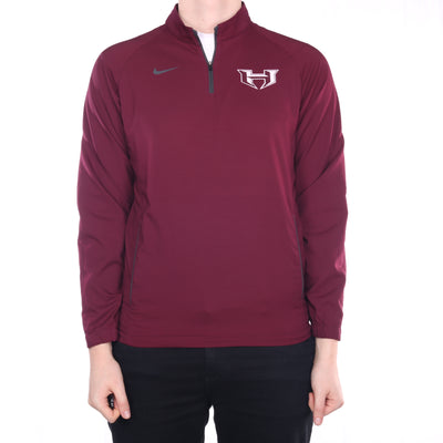 Nike - Burgundy Quarter Zip Tracksuit Quarter Zip Jacket - Small
