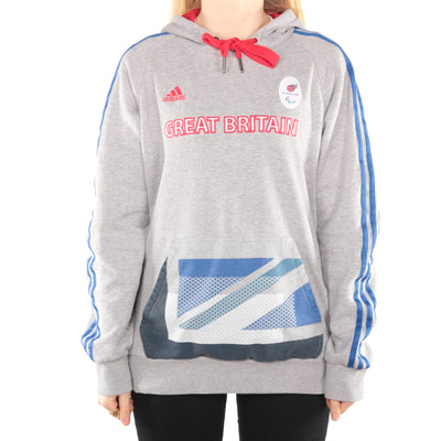 Adidas - Grey Embroidered Olympic Hoodie - Medium