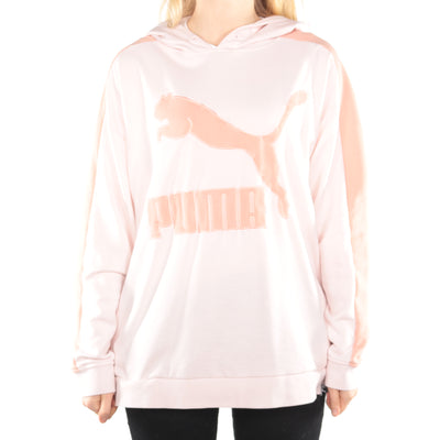 Puma - Peach Embroidered Spellout Hoodie - Medium