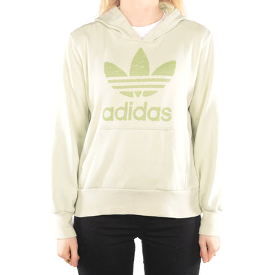 Adidas - Lime Green Printed Spellout Hoodie- Medium