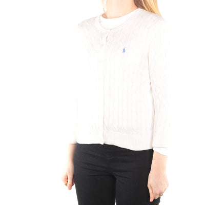 Ralph Lauren - White Embroidered Button Up Cardigan - Medium