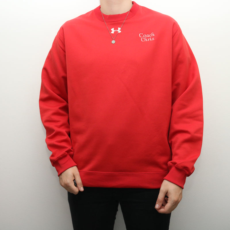 Under Armour - Red Embroidered Crewneck Sweatshirt - XLarge