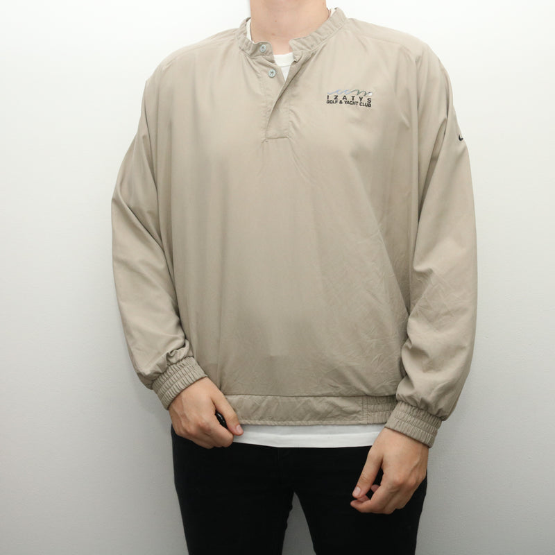 Nike - Beige Embroidered Quarter Button Windbreaker - XLarge