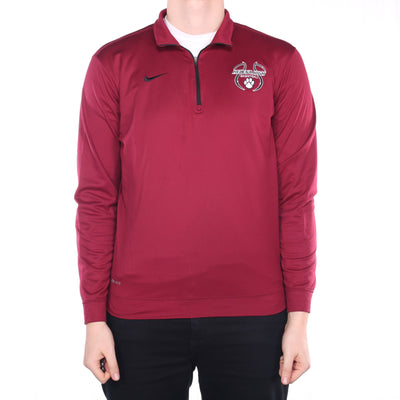 Nike - Burgundy Quarter Zip Embroidered Sweatshirt - Medium