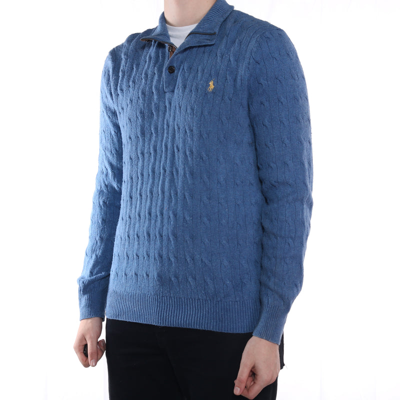 Ralph Lauren - Blue Embroidered Quarter Zip Jumper- XLarge