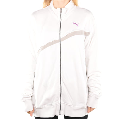 Puma - White Embroidered Zip Up Jumper - XLarge